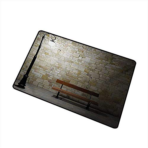 (Diycon Welcome Door mat Street Modern Avenue at Dark Night with a Open Lamp and Bench and Stone Wall Behind Image W24 xL35 Easy to Clean)