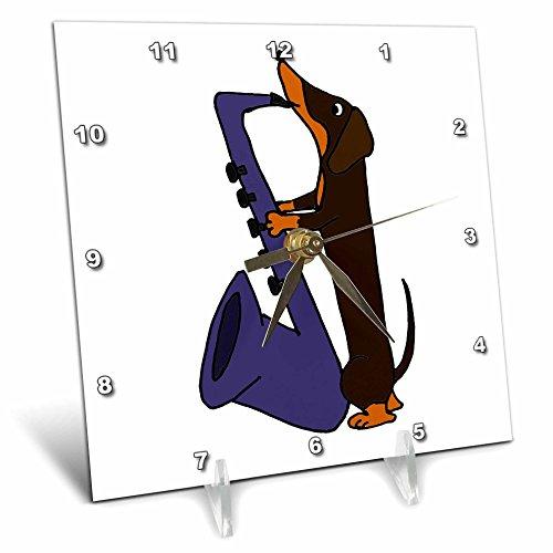3dRose Funny Dachshund Dog Playing Saxophone - Desk Clock, 6 by 6-Inch (Dachshund Clock)