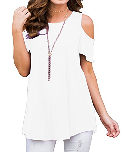 Womens Short Sleeve Off Shoulder Round Neck Casual Loose Top Blouse T-Shirt White-L (Off White Top Round)
