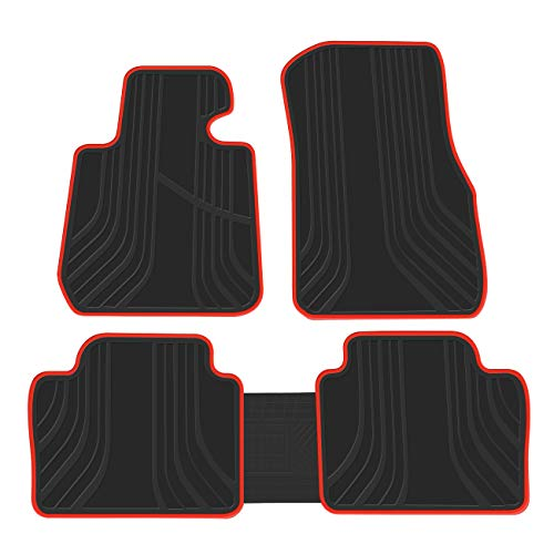 biosp Car Floor Mats for BMW 4 Series F31 F32 2014-2019 420i 428i 430i 435i 440i Front And Rear Heavy Duty Rubber Liner Set Black Red Vehicle Carpet Custom Fit-All Weather Guard Odorless