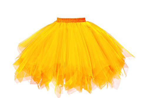 Musever 1950s Vintage Ballet Bubble Skirt Tulle Petticoat Puffy Tutu Gold -
