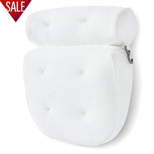 Bath Pillow Bathtub Spa Pillow, Non-slip 6 Large Suction Cups, Extra Thick for Perfect Head, Neck, Back and Shoulder Support by Idle Hippo, Fits All Hot Tub, Whirlpool, Jacuzzi & Standard Tubs