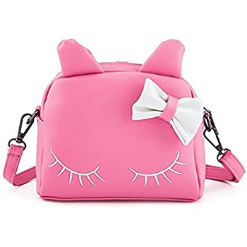 Pinky Family Cute Cat Ear Kids Handbags Candy Color Crossbody Bags PU  Leather Shoulder Bags (pink) 2ad1afeaa8dcf