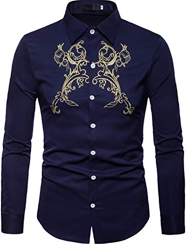 ZEROYAA Mens Hipster Golden Floral Embroidery Slim Fit Long Sleeve Button Down Shirts ZHCL11 Navy Blue Large