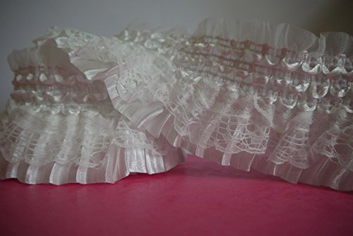2 yards Lace Gathered Elastic Pleated Satin Ribbon Trim (white (Ivory Satin Trim)