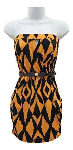 DONTYOUWANNANBE Women's Sexy Sleeveless Printed Tube Top Mini Bodycon Dress Orange Black Belted Elastic Band Strapless Pocket (Ladies Elastic Tube Dress)