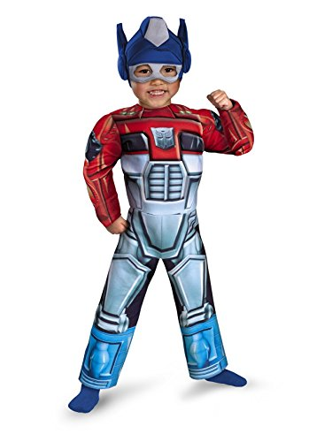 Optimus Prime Rescue Bot Toddler Muscle Costume, Red/Blue, 3T-4T -