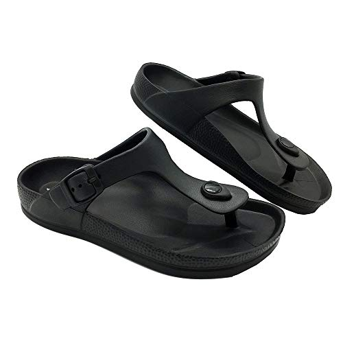 LUFFYMOMO Comfort Footbed Eva Flip fiop Thong Sandals for Womens Mens (10 B (M) US Women / (Insole Length) 10.43 inch, Black)