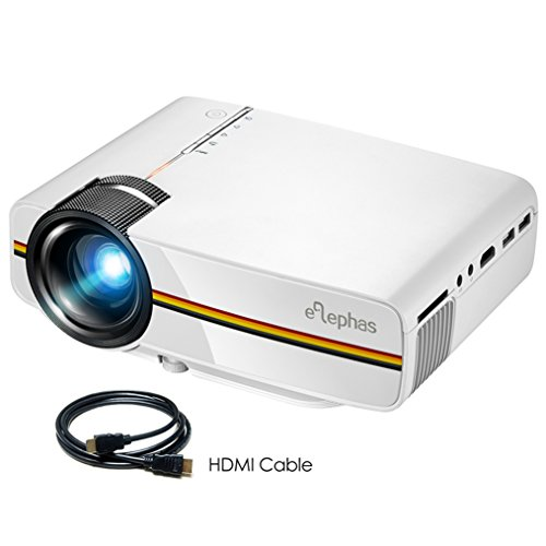 ELEPHAS LED Movie Projector, with 2018 Updated LCD Technology Support 1080P 150'' Portable Mini Projector Ideal for Home Theater Cinema Video Entertainment Games Party, White by ELEPHAS