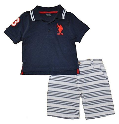 Applique Stripe Polo (U.S. Polo Assn. Baby Boys Polo Shirt and Short Set, Applique Sleeve Stripe Short Multi Plaid, 24M)