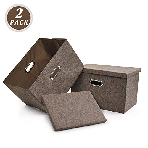 - File Storage Box, Collapsible Decorative Linen Filing & Storage, Portable Office Document Organizer | Letter/Legal (Brown, 2 Pack)