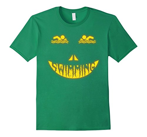[Mens Halloween Costume Swimming Scary Face Halloween T Shirt Large Kelly Green] (Male Swimming Costumes)