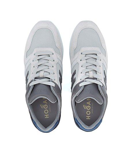 Hogan Sneaker H321 in Suede e Mesh Bianca, Grigia e Blu Bianco
