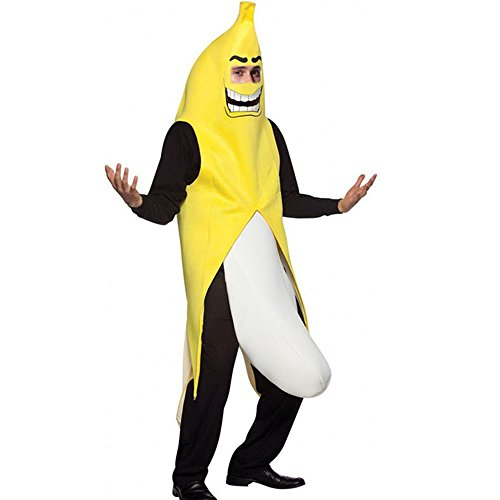 Men's Banana Deluxe Adult Banana Suit Funny Christmas Adult Costumes Party Supplies Costume (Yellow and (Banana Flasher Costume)
