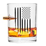 Real Bullet American Flag Old Fashion Whiskey Rocks .308 Glass - Hand Blown Glasses - 8 Oz.