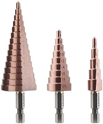 Step Drill Bit,Spiral Grooved Step Cone Drill Bit HSS Cut Tool for DIY Plastic Wood Metal Aluminum Copper Multi Hole Cutter,6mm-25mm Titanium Coated HSS Steel Hex Shank Metric
