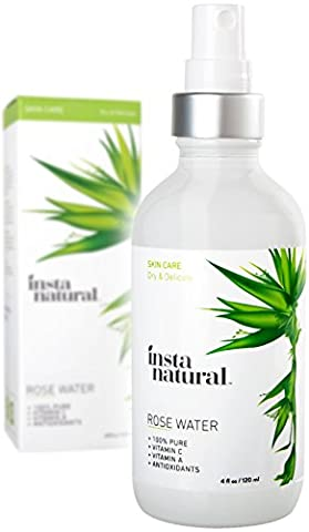 InstaNatural Rose Water Facial Toner - Organic & Natural Astringent Face Mist without Alcohol - Primer to Clear & Tighten Pores - Hydrating & Calming Treatment for Sensitive & Breakout Prone Skin 4 (Astringent Toner)