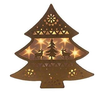 Weihnachtsdeko Aus Metall.Tannenbaum Mit Hologrammfolie Hirschen Und Led Lichterkette Mit