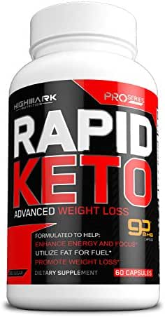 Rapid Keto Diet Pills | Advanced Ketogenic Diet Weight Loss Supplement | BHB Salts Exogenous Ketones Capsules for Men & Women | Fast & Effective Ketosis Diet Fat Burner | Promote Energy & Focus | 60