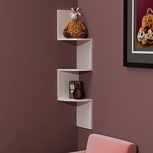 BM WOOD FURNITURE Wooden Wall Shelves | Corner Wall Shelf for Living and Bedroom Decor | Zigzag Shape | White