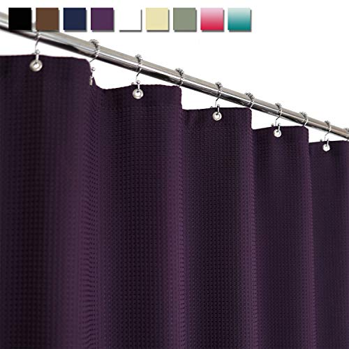 Barossa Design Waffle Weave Shower Curtain Hotel Luxury Spa, 230 GSM Heavy Duty Fabric, Water Repellent, Purple, 71x72 Inch (Purple Shower Stall Curtains)