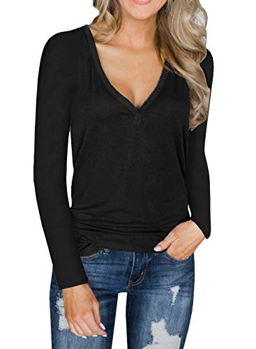 (Lateemore Womens Deep V Neck Long Sleeve Henley Shirts Button Up Knit Tunic Top Blouse Black)