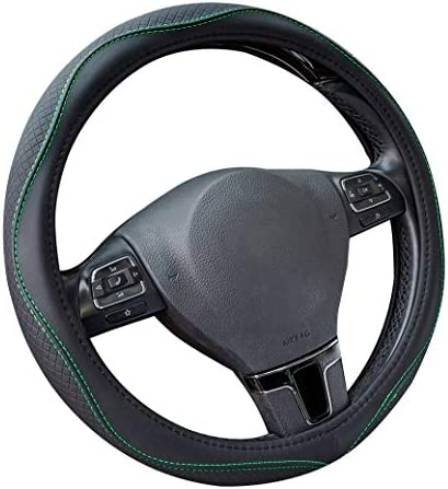 PIC AUTO Steering Wheel Covers - PVC Leather Breathable Anti-Slip Universal 15 inch for Cars Suvs Sedans Trucks (Black)