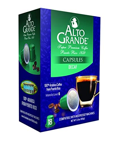 Alta Single - Alto Grande Super Premium Decaf Capsules for Nespresso Machines, 100 Percent Arabica Coffee From Puerto Rico (18 Count)