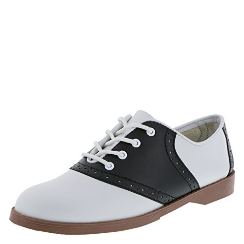 Predictions Women's Black/White Saddle Oxford 8 Wide