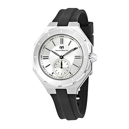 TechnoMarine Women's TechnoMarine Black Silicone Band Steel Case Swiss Quartz Analog Watch TM-118001