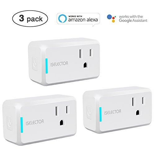 ISELECTOR Mini Smart Plug 3-Pack, Wi-Fi, Control Your Electric Devices from Anywhere, Timing Function, No Hub Required, Compatible with Alexa and Google Assistant