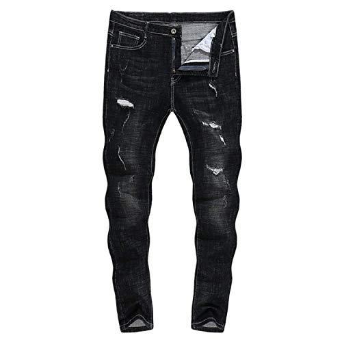 Dritta 2018 31 A Size Marca Zlh Jeans Mode Neri Pantaloni Thick Uomo Strappati 805 color Gamba Da Biker Stretch Di Bolawoo gwpq60