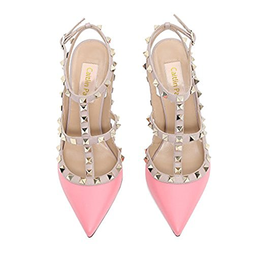 Toe Slingback Leather Pink gold Sandals Womens Pumps Shoes stud matte Heel Pointed Pan Studded Strappy Stilettos High Caitlin wtqzCHU6
