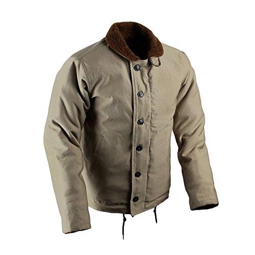 WW2 Navy Uniform Vintage Fleece Marine Thick Wool Jacket Khaki 44 (Vintage Deck Jacket)