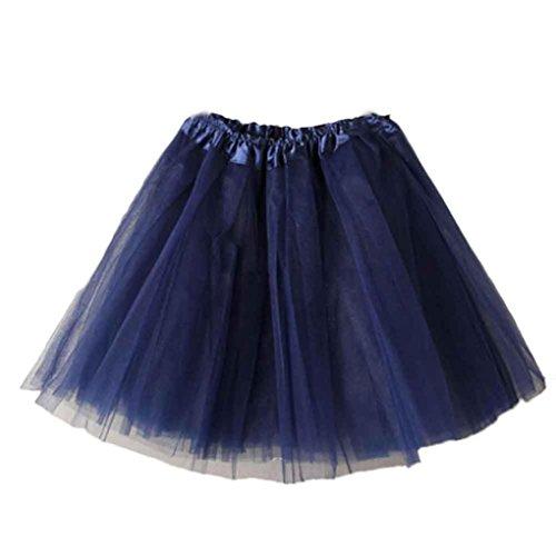 Mini Skirt Women Liraly Ballet Tutu Layered Organza Lace (Navy)