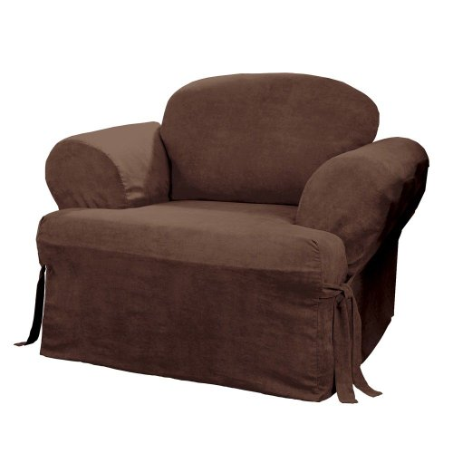 Sure Fit Soft Suede T-Cushion - Chair Slipcover  - Chocolate (SF34701) (Large Chair Slipcover)