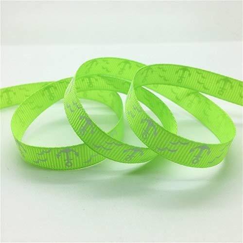 (5 Yards Printed Ship's Anchor Grosgrain Ribbon 3/8 Inch-Grosgrain Ribbon for Sewing-Ribbon for Crafts-Ribbon for Gift Wrap-Ribbon for Hair Bows Making-Ribbon Wedding Decoration-Green Ribbon)