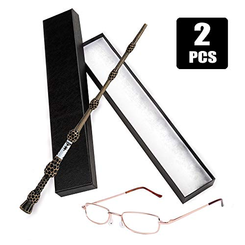 Joy Day Elder Wand Magic Wizard Wand for Dumbledore with Glasses for Wizard School Boys Girls Fancy Dress Dumbledore's Costume Accessories for Halloween Birthday Party (Realm Wizard Party Supplies)