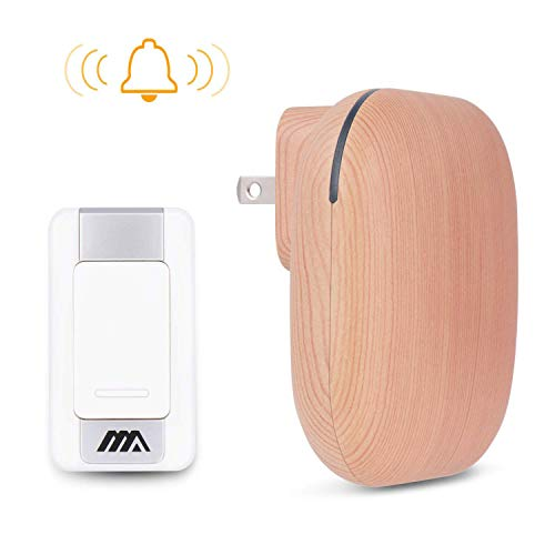WeHome Wireless Doorbell Kit Beautiful Wood Grain Door Bells, 36 Chimes to Choose, 1000ft Wireless Operation Range, 1 Push Button & 1 Plug-in Receiver