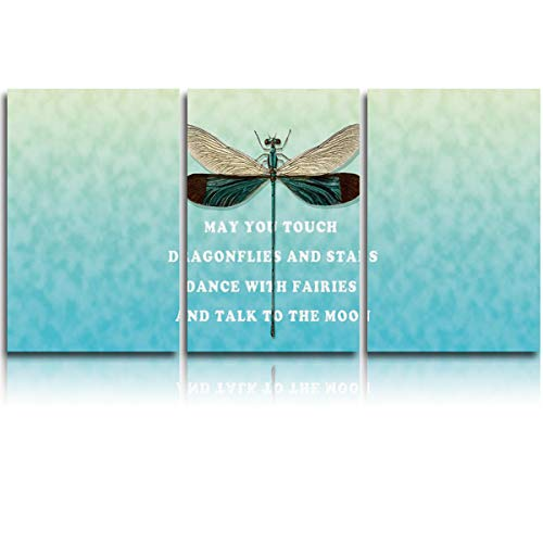 Fandim Fly 3 Pieces Canvas Painting Wall Art, Dragonfly and Poems Pattern Canvas Prints for Home Decorations Ready to Hang 16x20Inch 3pcs/Set