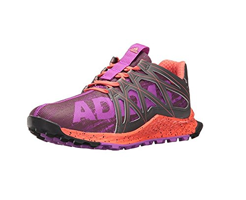 adidas Women's Vigor Bounce w Trail Runner, Shock Purple/Night/Easy Coral, 5 M US