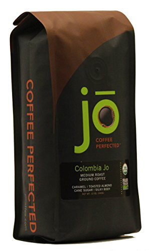 COLOMBIA JO: 12 oz, Organic Ground Colombian Coffee, Medium Roast, Fair Trade Certified, USDA Certified Organic, 100% Arabica Coffee, NON-GMO, Gluten Free, Gourmet Coffee from Jo Coffee
