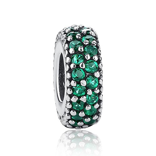 Everbling Inspiration Within Fancy CZ Spacer 925 Sterling Silver Bead Fits European Charm Bracelet (Green) ()