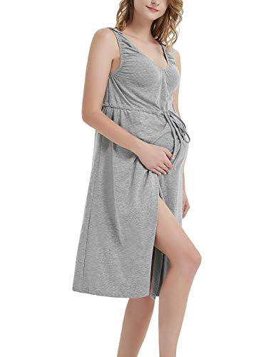 8a6d6a3ffa 3 in 1 Labor delivery Hospital Gown Maternity Nursing Nightgown Split Front  Dress for Breastfeeding Grey