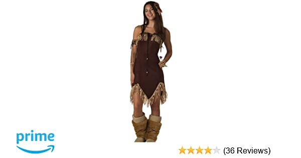 Indian Girl Boot Covers Tops Adult Womens Pocahontas Costume Fancy Dress