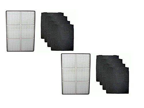 2 COMPLETE SETS for Whirlpool 1183054K (1183054) HEPA Filter and 4 Carbon Filters 8171434K 8171434 Designed To Fit Whispure Air Purifier Models AP350 AP450 AP510 AP45030HO - Compare To Whirlpool Part# 1183054, 1183054K Large Grand Format Aftermarket replacement filters