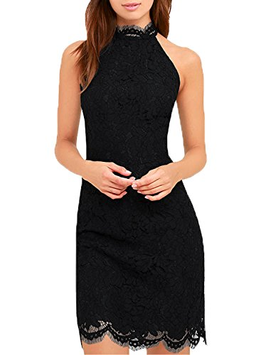 WOOSEA Women's Cocktail Dress High Neck Lace Dresses For Special Occasions (X-Large, Black)