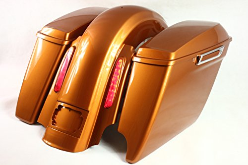 Bagger Side - REAR END PACKAGE FOR HARLEY & BAGGERS - 2IN1 EXTENDED SADDLEBAGS, FENDER, AND LIGHTS, LICENSE PLATE FRAME - AMBER WHISKY