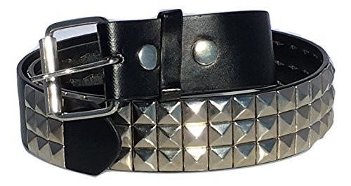 Mens Pyramid Stud Black Belt (Dangerous Threads Black Studded Belt- 1 1/2