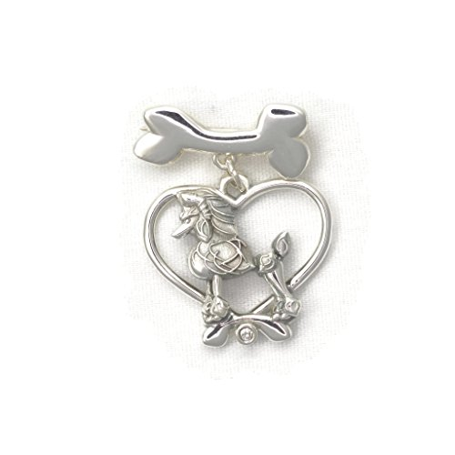 Sterling Silver Poodle Pin - Diamond Brooch - Dog Bone Pin by Donna Pizarro fr her Animal Whimsey Collection of Fine Poodle Jewelry by Donna Pizarro Designs